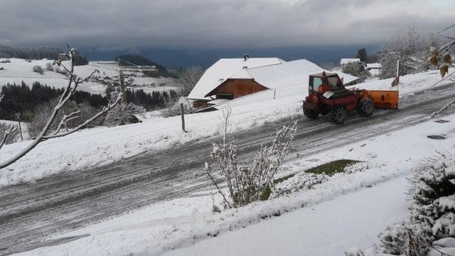 Schneepflug auf Strasse.
