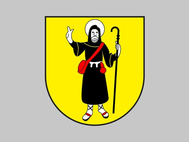 La vopna da Sagogn cun il sontg Columban.