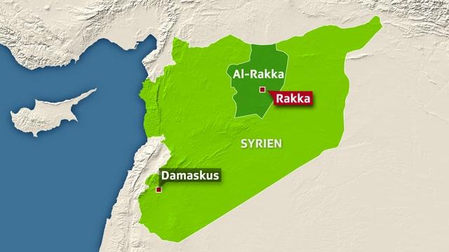 Kartenausschnitt, der die Provinz Al-Rakka zeigt