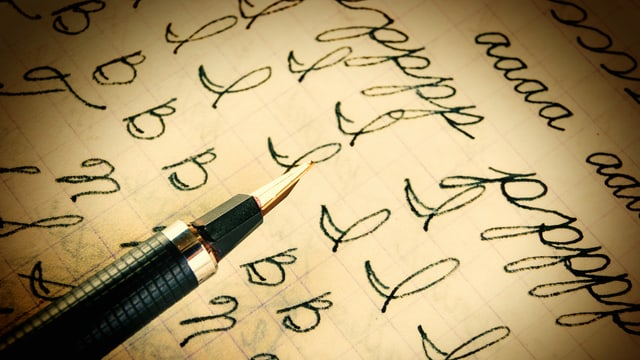Schulheft, Buchstaben, Füller