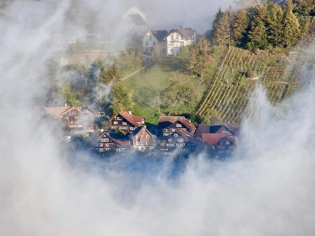 Nebelschwaden, in der Mitte ein Dorf.