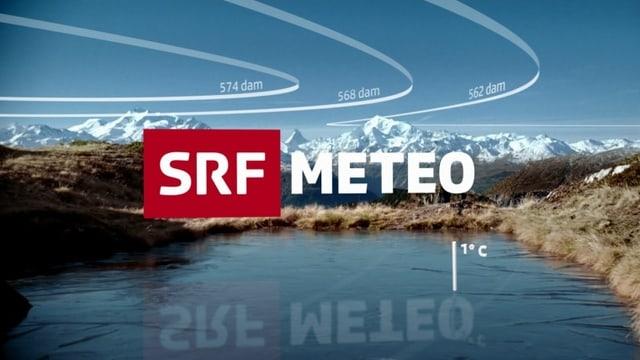 Das Keyvisual von SRF Meteo zeigt den Schriftzug vor Gebirgshintergrund und See, weisse Linien sind mit «dam» beschriftet.