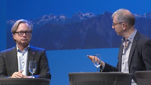 Der grüne Wirtschaftslobbyist Christian Zeyer von Swisscleantech im Streitgespräch mit Dieter Zümpel, Direktor von Kuoni