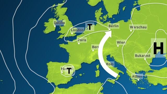 Europakarte mit Isobaren