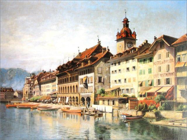 Ein Gemälde zeigt Häuser an einem Fluss.