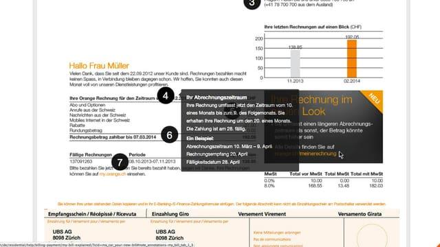 Orange-Brief, indem die Rechnungsumstellung erklärt wird.