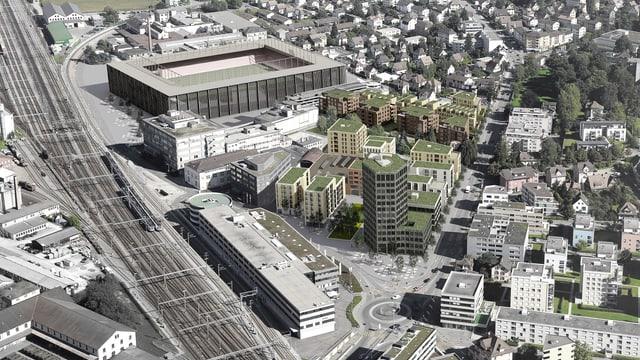Visualisierung Quartier Torfeld Süd Aarau aus der Luft