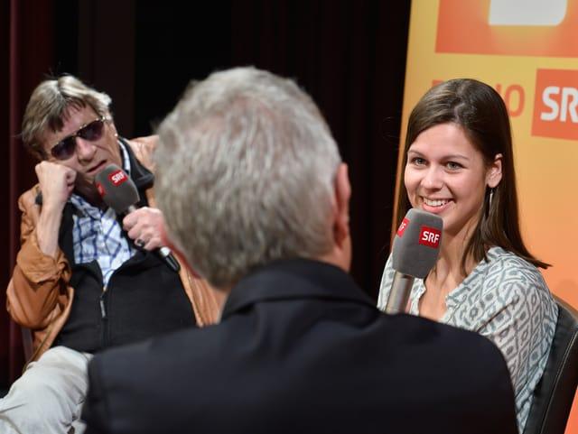 Gesprächsrunde mit Dani Fohrler, Melanie Oesch und Polo Hofer.