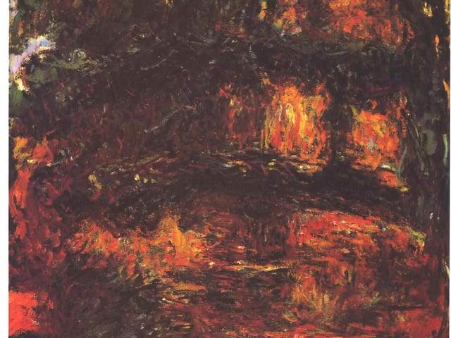 Braun-Oranges Bild, Brücke und Teich sind vage erkennbar.