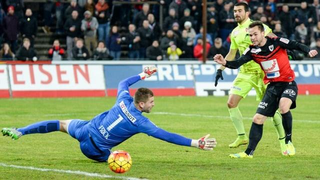 Aarau Spieler schiesst Ball knapp am Torhüter aber auch am Tor vorbei