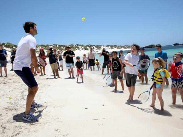 Federer am Strand