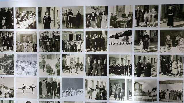 Tavla cun differentas fotografias en alv e nair dals onns 60 e pli baud.