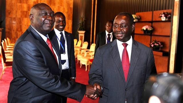 Rebellenführer Michel Djotodia und das gestürzte Staatsoberhaupt François Bozizé schütteln Hände.