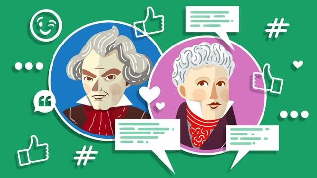 Illustration von Beethoven und Schnyder von Wartensee