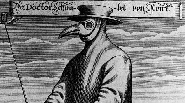 Ein Pestarzt in seinem Schutzanzug.