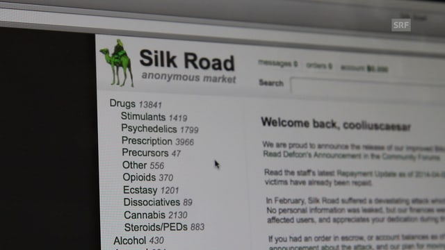 Ein Bild der Drogen-Plattform The Silk Road im Darknet.