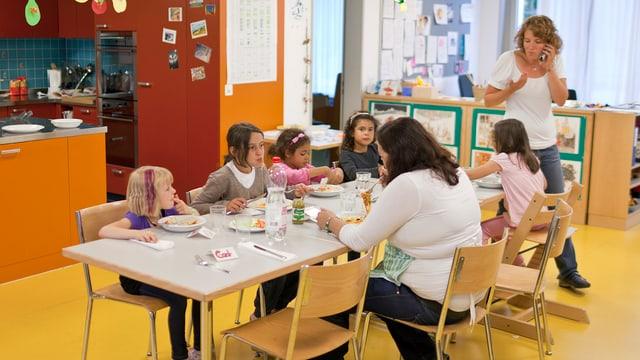 Gruppe von Schulkindern in einer Tagesstätte.