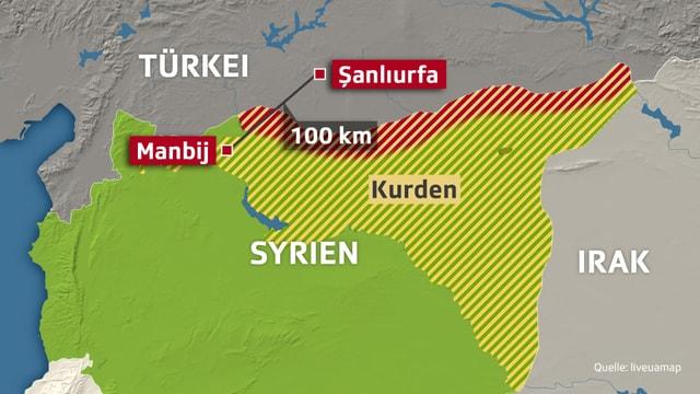 Karte von Syrien und der Türkei