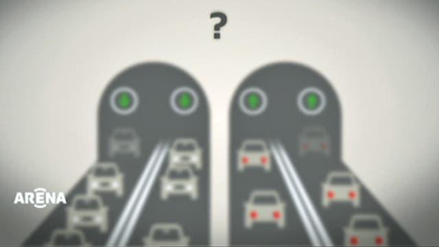 Grafik mit zwei Tunnelröhren und vier Fahrspuren, die alle von Autos befahren werden.