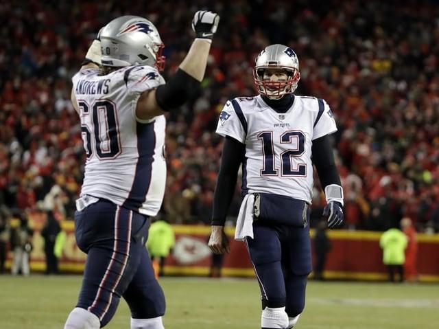 Zwei Patriots-Spieler jubeln
