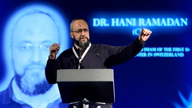 Hani Ramadan durant in referat l'onn 2013 a la Palexpo a Genevra.