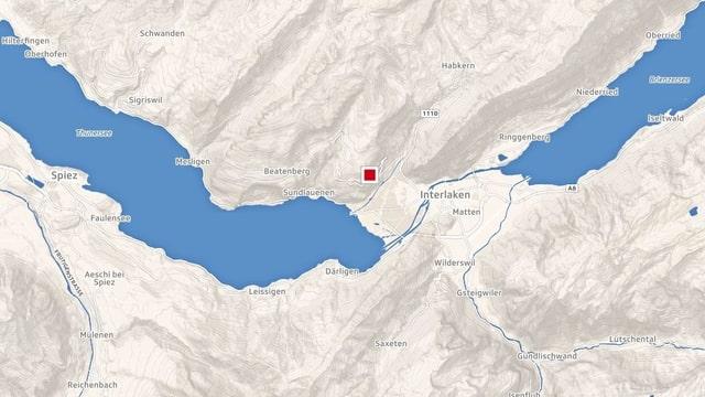 Karte mit dem eingezeichneten Ort Unterseen im Kanton Bern