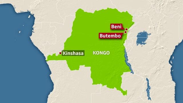 Karte von Kongo-Kinshasa.