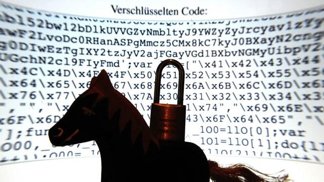 Ein Spielzeugpferd steht mit einem Schloss auf dem Rücken vor einem Computerbildschirm auf dem ein Mustertext im Quellcode-Typ HTML abgebildet ist.