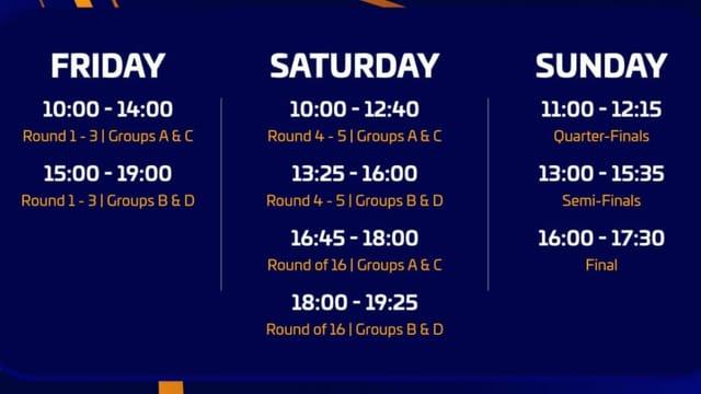 Der Turnierablauf erklärt: Am Freitag und Samstag werden die Gruppenspiele gespielt, am Samstag und Sonntag folgen die K.o.-Spiele.