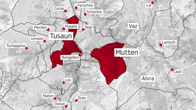 Ina charta che mussa il territori da Mutten e da Tusaun.