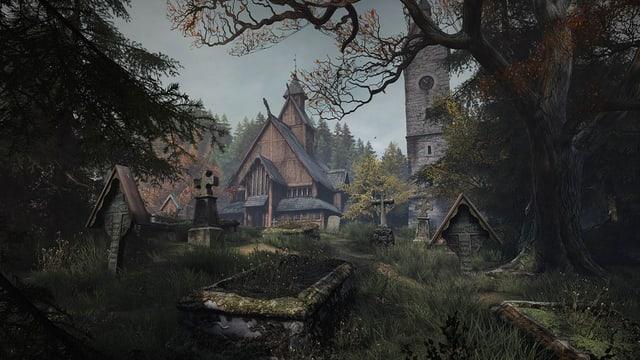 Eine alte Holzkirche wird durch Bäume hindurch sichtbar.