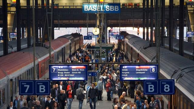 Menschen am Bahnhof SBB