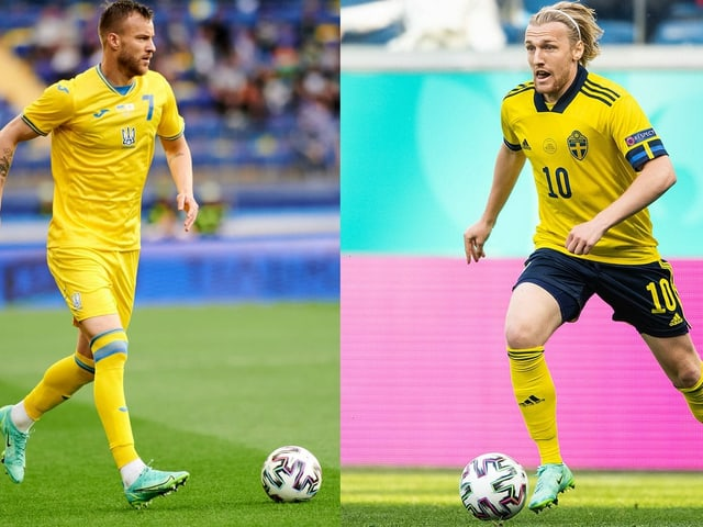 Ukraine-Stürmer Andriy Jarmolenko (links) und Schwedens Emil Forsberg.