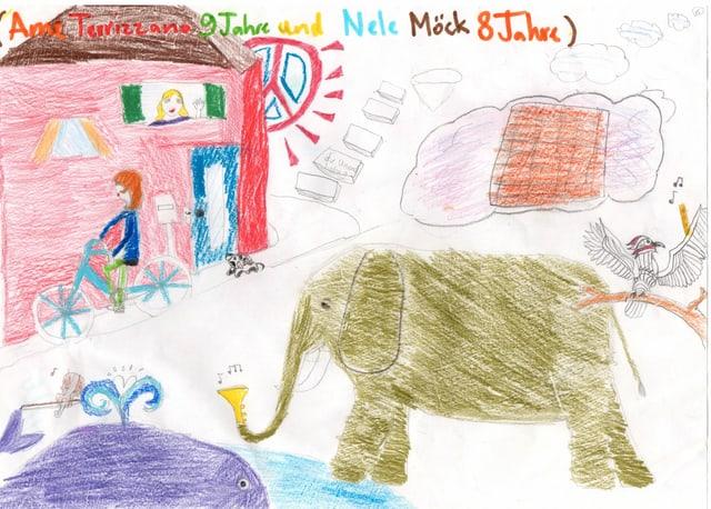 Kinderzeichnung mit Elefant