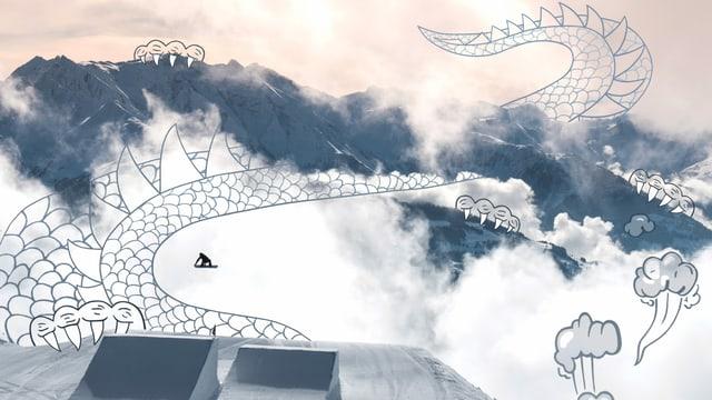 Fotografia Elena Könz sil snowboard e disegn da dragun