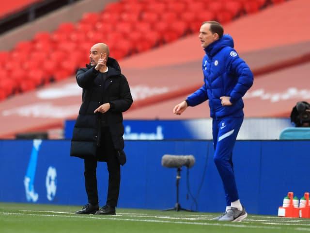 Manchester-City-Trainer Pep Guardiola und Chelsea-Coach Thomas Tuchel.