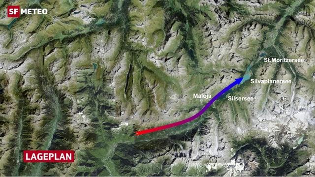 Bergeller Talwind wird ab der Anhöhe vom Malojapass zum Malojawind.