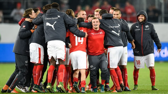 L'equipa naziunala svizra s'embratscha suenter ch'ella è sa qualifitgada per l'Euro 2016