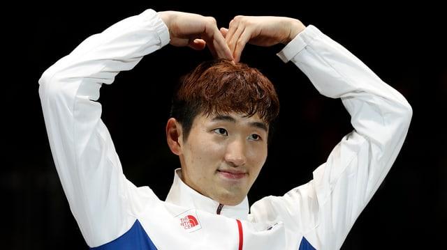 Fechter Park Sang-young bei der Siegerehrung