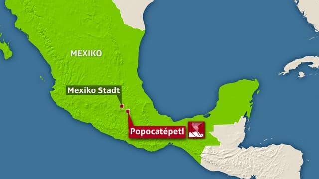 Karte mit Mexiko Stadt und Popocatepetl