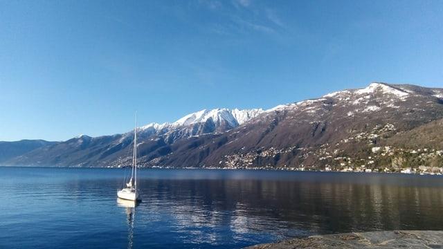 Der wolkenlose Lago Maggiore mit der verschneiten Kuppe des Monte Gridone