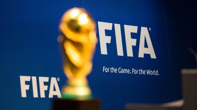 Der WM-Pokal vor einem FIFA-Werbebanner.
