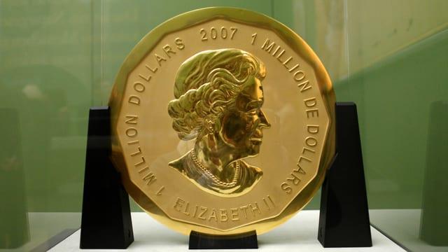 Die 100 Kilogramm schwere Goldmünze «Big Maple Leaf» aus dem Bode-Museum.