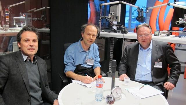 Daniel Hodel, RIchard Wolff und Marco Camin im Radiostudio Zürich.