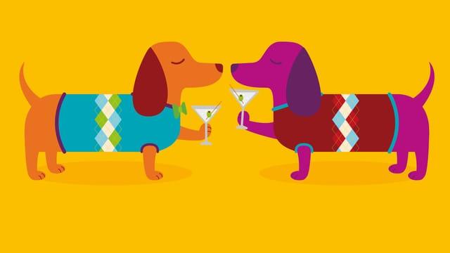 Zwei Hunde mit Cocktail-Gläsern.