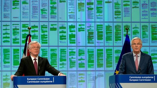 David Davis, britischer Minister für den EU-Austritt, und Michel Barnier, EU-Unterhändler.