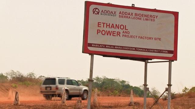Schild der Firma Addax Bioenergy.