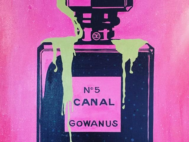 Gemälde: Flasche, die dem Chanel-Parfüm ähnelt. Darauf steht «Nr. 5 Canal – Gowanus».