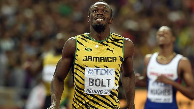 Bolt nach dem Zieleinlauf über 200m in Peking