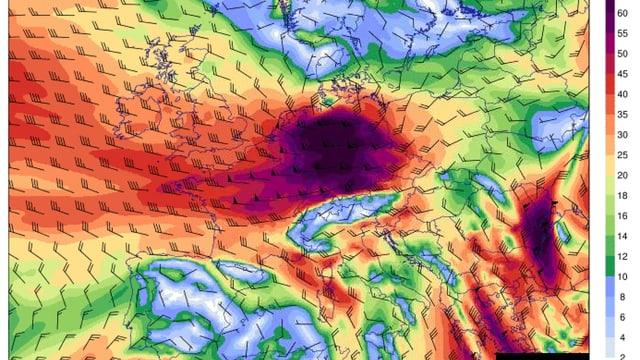 Windkarte von Europa in 1500 Metern Meereshöhe